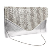 Womens Bag Zigzag Diamante Flat Envelope Clutch Bag Evening Handbag Purse