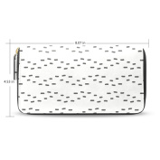 Womens Fashion Leather Long Wallet Zippered Purse Case with Card Holder