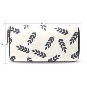 Womens Back Leaves Leather Long Wallet Zippered Purse Case with Card Holder