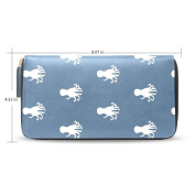 Womens Octopus Leather Long Wallet Zippered Purse Case with Card Holder