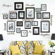 Set of 12 Family Quote Words Vinyl Wall Sticker Picture Frame Wall Family Room Art Decoration #1332