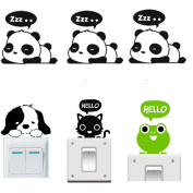 Buytra 6 Pieces Cute Animals Wall Stickers Switch Decor Decals Art Mural Baby Nursery Room,Panda Cat Dog Frog