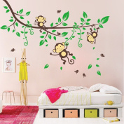 BIBITIME Jungle 3 Monkeys Playing on Tree Wall Sticker Vinyl Decal Kid Nursery Baby Decoration Decal