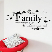 BIBITIME Family Bird Butterfly Art Vinyl Quote Decal Mural Room Home Wall Sticker Decor
