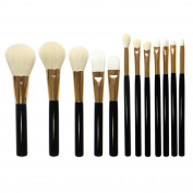 AMarkUp 12pcs Pro Golden Black Makeup Brush Set Wool Eye Shadows Eyebrow Foundation Cosmetics Make Up Tool Kit