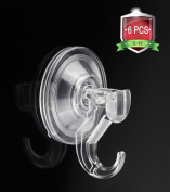 Quntis Shower Hook Heavy Duty Bathroom Towel Bath Robe Hook Kitchen Suction Cup Hook for Cloth Coat Handbag Key and Cap Razor Holder Wreath Hanger 6 Pack Clear