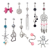 Jewellery Set of 10pcs 14 Gauge 316L Surgical Steel Belly Rings / Navel / Belly Button Piercings / Bananabells / Curved Barbells With Different Pendants Decorations and Crystals / Rhinestones