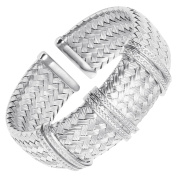 Charles Garnier Glamour Woven Cuff Bracelet with Cubic Zirconia in Sterling Silver