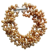 Pearls Paradise Women's Freshwater Gold Rice Shape Pearl Four Strand Chunky Bracelet With A Silver Clasp