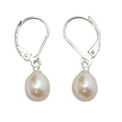 Pearls Paradise Women's Cultured Freshwater White Pearl Sterling Silver Leverback Earrings