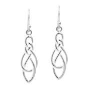 Celtic Knot Infinity Loop Drop .925 Sterling Silver Dangle Earrings