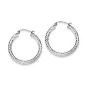 Sterling Silver Diamond Cut 3mm Classic Textured Hollow Hoop Earrings Length 29mm