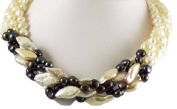 Freshwater Cultured Black and White Pearl Choker Necklace with Sterling Silver Clasp