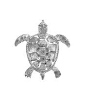 Textured 10k White Gold Good Luck Sea Turtle Charm Pendant