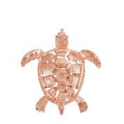 Textured 10k Rose Gold Good Luck Sea Turtle Charm Pendant