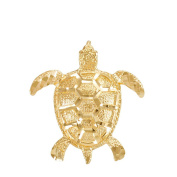 Textured 10k Yellow Gold Good Luck Sea Turtle Charm Pendant