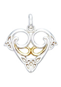 Jewellery Trends Sterling Silver and 14K Gold-Plated Celtic Trinity Heart Pendant on 46cm Chain Necklace