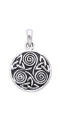 Jewellery Trends Sterling Silver Celtic Trinity Triskele Knotwork Pendant on 46cm Box Chain Necklace