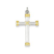 .925 Sterling Silver & 18k Gold-plated Rope Latin Cross Charm Pendant