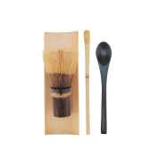 BambooMN Brand - 1 Set - Black Chasen (Tea Whisk) + Tray + Chashaku (Hooked Bamboo Scoop) for preparing Matcha + Black Tea Spoon