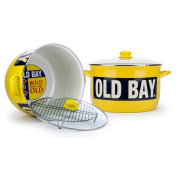 Golden Rabbit Enamelware Old Bay Seasoning 17l Stock Pot With Rack and Lid