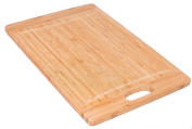 BirdRock Home Bamboo Wood Cutting Board Chopping Block with Juice Groove | 17.75 x 12 | Cut Out Handel | Wooden| Kitchen and Cutlery Accessories | Cut Vegetables, Meat, etc. | Durable