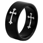 Men's Titanium 8mm Black Dome Satin Silver Colour Cross Inlay Wedding Engagement Ring TKJ