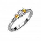 Diamond (SI2-I1, G-H) and Citrine Three Stone Ring 0.49 ct tw in 14K White Gold