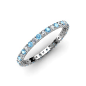 Blue Topaz and Diamond Common Prong Eternity Band 1.09 ct tw to 1.28 ct tw in 14K White Gold.size 6.0