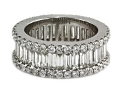 4.6ct Channel Pavé Diamonds 14K White Gold 8mm Wide Eternity Band Ring - Size 6