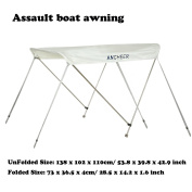 New Ancheer White 3 Bow Bimini Boat Top Cover Canopy Includes Hardwares With Aluminium Frame