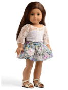 Sweet Dolly Doll Clothes Lace Top Floral Skirt Set for 46cm American Girl Dolls