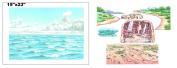 Water & Sky Flannel Board Cover & Shoreline Cave City & Desert Overlays Scripture Stories Bible Felt- Precut Small makes 16x24 size felt board