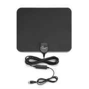 Derlson® 50 Miles Range Indoor HDTV Antenna with USB Power Supply and 4.9m coaxial cable, Supports up to 1080p, Digital broadcast Amplified Antenna, Black
