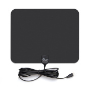 Derlson® 35 Miles Range Indoor HDTV Antenna with 4.9m coaxial cable, Supports up to 1080p, Digital broadcast Amplified Antenna, Black