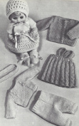 Vintage Knitting PATTERN to make - 23cm - 46cm Doll Clothes Dress Sweater Skirt Hat. NOT a finished item. This is a pattern and/or instructions to make the item only.