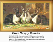 Three Hungry Bunnies, Animal Counted Cross Stitch Pattern