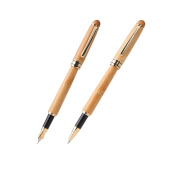 AIVN Natural Handcrafted Bamboo Fountain Pen and Ball Point Pen Duo Gift Set for Signature Calligraphy