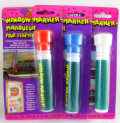 3 Pk, Unique Window Colour Markers, .2480ml