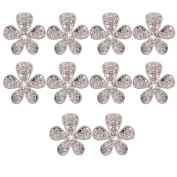 10pcs Phenovo Flower Rhinestone Buttons DIY Craft Embellishment Silver
