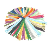 SUNREEK™60 Pcs Mix Nylon Coil Zippers Tailor Sewer Craft 23cm Crafter's Special, 20 Colours