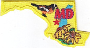 """""""MD"""" - MARYLAND STATE SHAPE PATCH-Iron On Embroidered Applique/Birds,Flowers"""