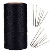 AntKits 284 yards 150D 0.8mm Flat Leather Waxed Thread Cord and 12 pcs Stitching Needles with Big Pinhole for Leather Factory or Leathercraft DIY, Black