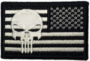 Tactical Reverse USA Flag with Punisher Patch 5.1cm x 7.6cm hook and loop Backing - Black - By Ranger Return
