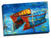24x36 Two Row Boats Expressionist Painting Stretched Canvas