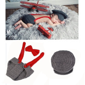 Newborn Baby Boy Costume Handmade Crochet Knitted Clothes Photo Photography Prop Cap Beanie with Suspenders Bowtie Nappy Outfits