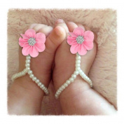 Fullkang Infant Baby Pearl Chiffon Barefoot Toddler Foot Flower Beach Sandals