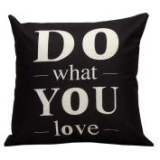 Hatop Decorative Linen blend Square Letters Throw Pillow Case Decor Cushion Covers