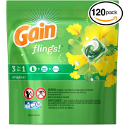 (PACK OF 120 PODS) Gain Flings! ORIGINAL Laundry Detergent PACS. High Efficiency & Non-High Efficiency. Detergent + Stain Remover + FEBREZE! All Temperatures.