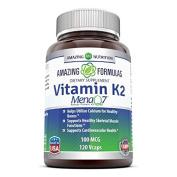 Amazing Nutrition Vitamin K2 Menaq7 100 Mcg 120 Vcaps - Supports Calcium Uptake and Bone Mineralization - Supports Healthy Bones* -- Supports Healthy Cardiovascular Function*